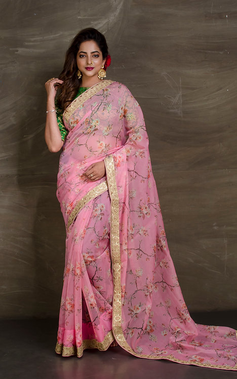 Floral Organza Party Wear Saree in Pink and Gold