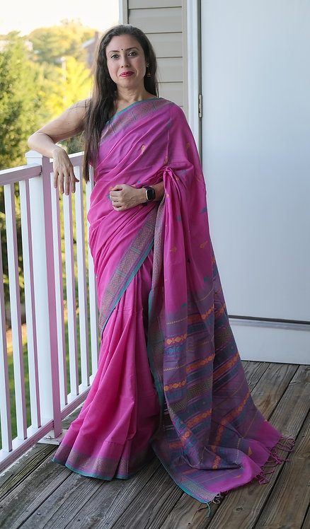 Khadi Soft Cotton Saree in Pink, Blue and Gray