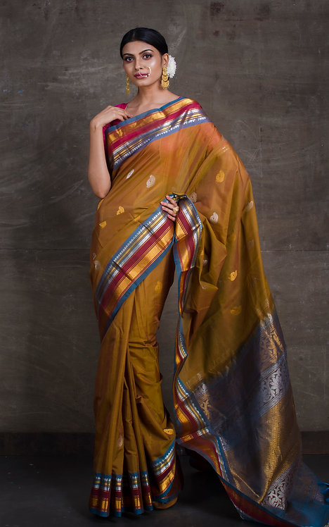 Pure Cotton Gadwal Saree in Heena Green and Blue