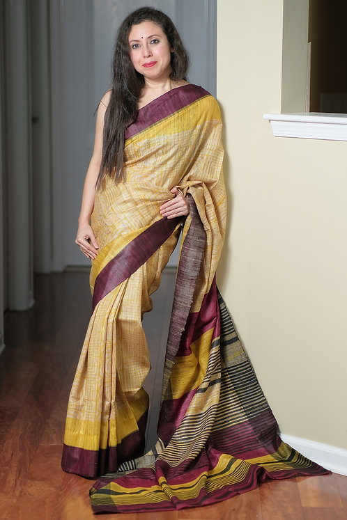 Printed Gicha Tussar Silk Saree in Beige, Maroon and Yellow