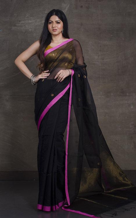Half Matka Tussar and Half Muslin Ball Buti Saree in Black and Pink