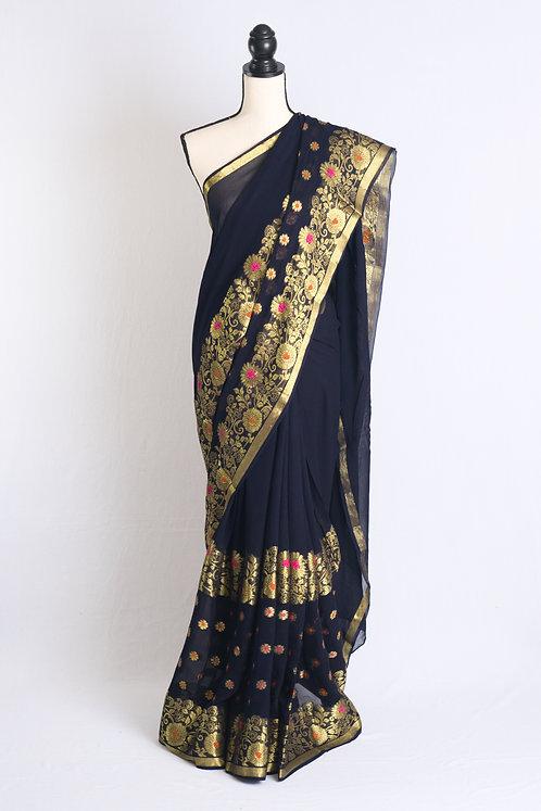 Chiffon Banarasi Saree in Dark Blue and Gold