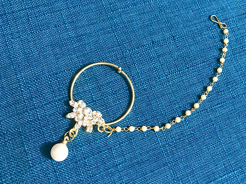Stone Setting Nose Ring with Small Chain
