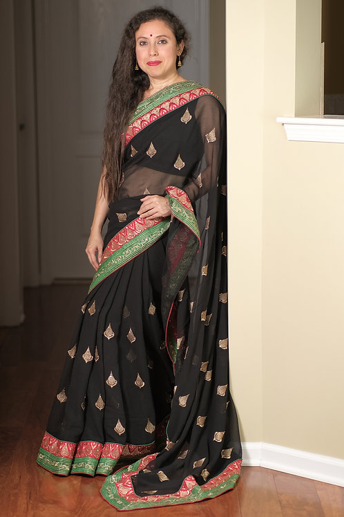 Georgette Embroidery Saree in Black, Green and Red