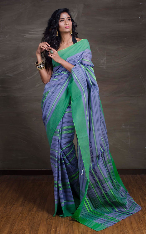 Bengal Handloom Cotton Saree in Grey and Green