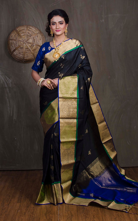 Soft Silk Kanchipuram Saree in Black, Blue and Gold