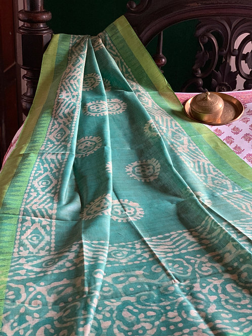Hand Batik Cotton Silk Dupatta in Sea Green