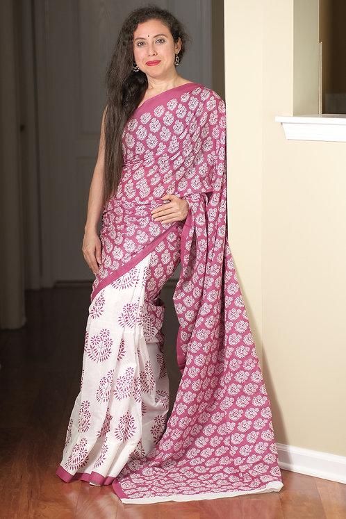 Soft Mulmul Cotton Saree in White and Purplish Pink