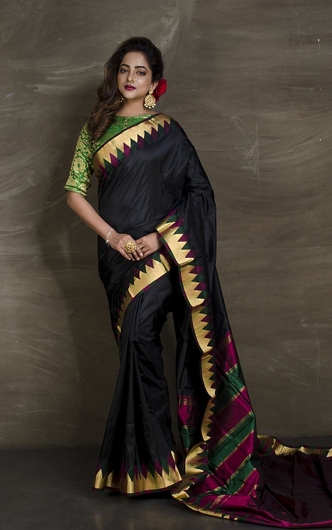 Temple Border Pure South Silk Saree in Black in Gold