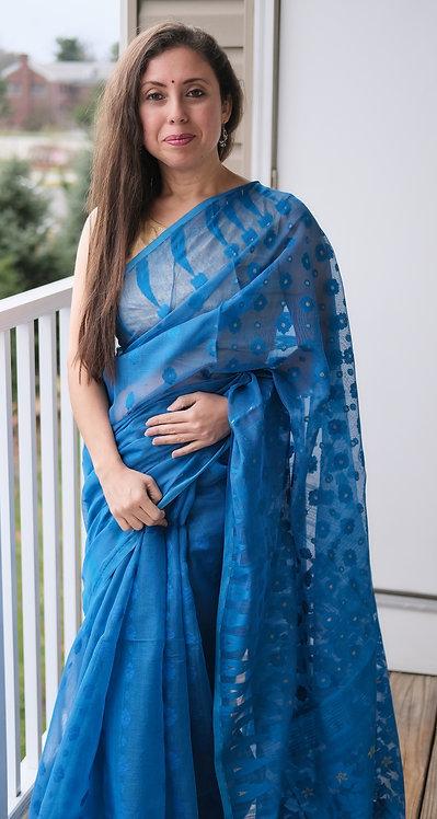 Soft Jamdani Saree in Blue