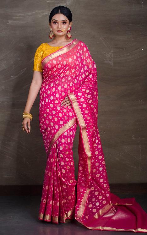 Pure Resham Cotton Banarasi Saree in Dark Pink