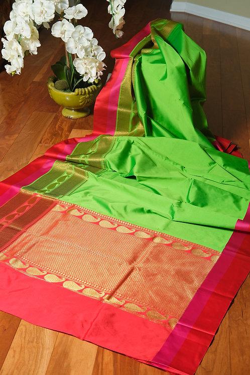 Art Silk Banarasi Saree in Bright Green, Red and Gold