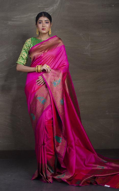 Minakari Valkalam Tussar Banarasi Saree in Hot Pink and Antique Gold