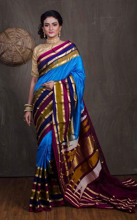Kanjivaram Saree with Skirt Border in Blue and Maroon