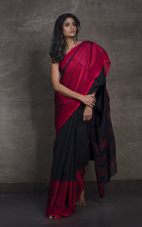 High Quality Soft Cotton Saree with Wide Border in Black and Red