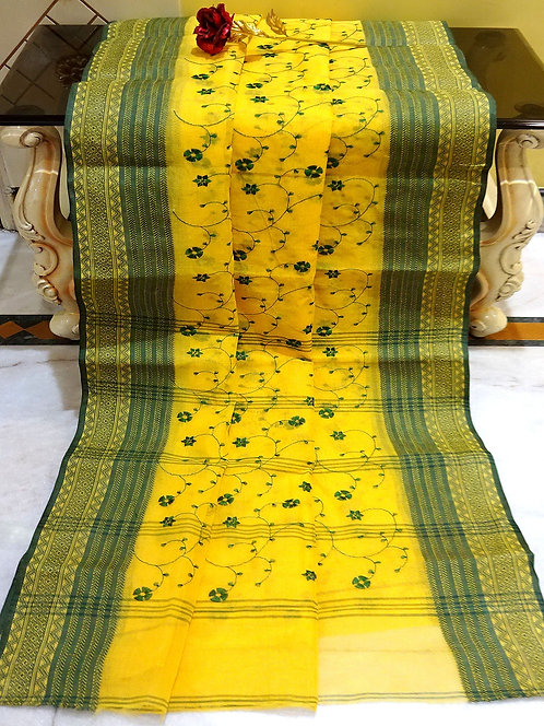 Bengal Handloom Cotton Embroidery Saree with Starch in Yellow and Green