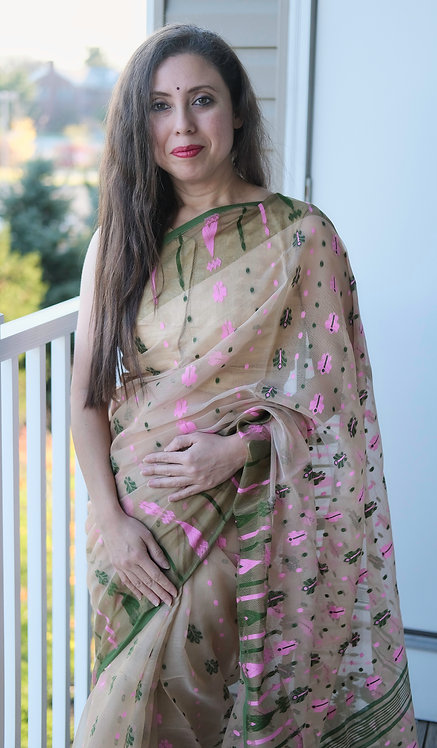 Soft Jamdani Saree in Light Biscuit Brown, Green and Pink