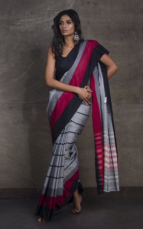 Designer Bengal Handloom Soft Cotton Saree in Gray, Black and Maroon