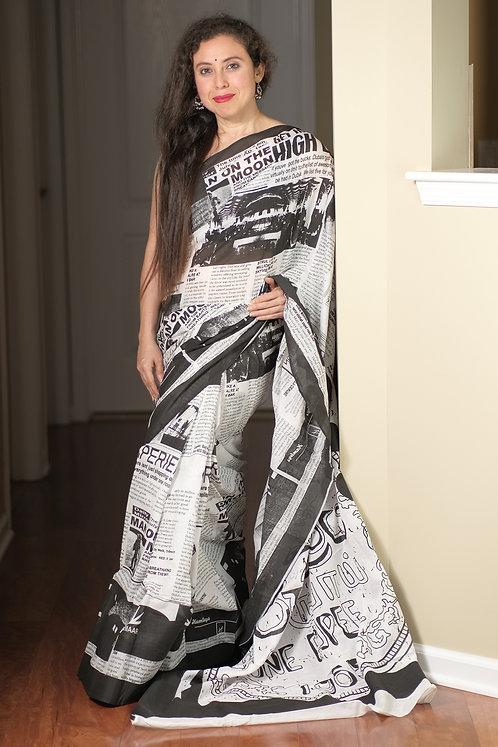 Newspaper Print Mul Cotton Saree in White and Black
