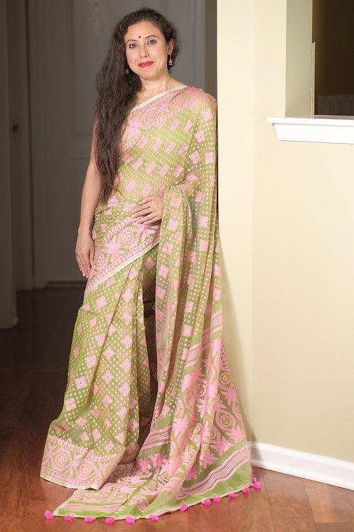 Soft Jamdani Saree in Light Green and Pink