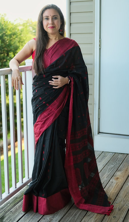 Khadi Soft Cotton Saree in Black and Red