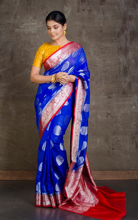 Georgette Banarasi Saree in Royal Blue