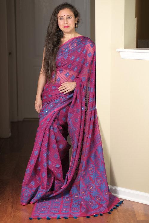 Soft Jamdani Saree in Magenta and Blue