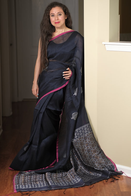 High Thread Count Silk Linen Saree in Midnight Blue and Silver