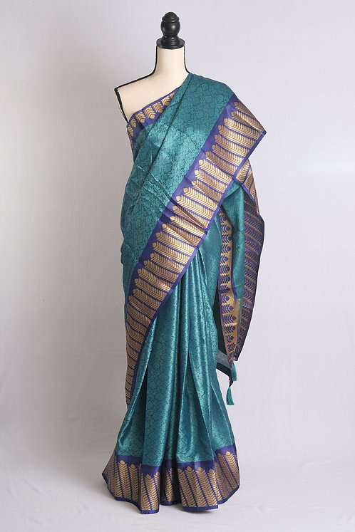 Art Silk Kanjivaram Saree in English Blue