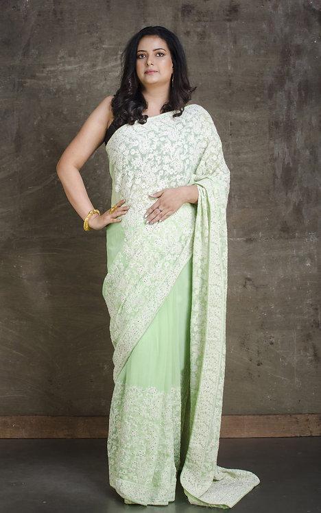 Lucknow Chikankari Designer Saree in Sea Green and White
