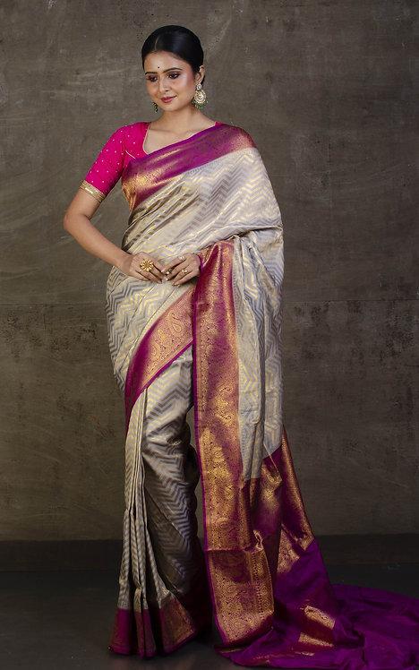 Semi Silk Banarasi Saree in Gray, Magenta and Brushed Gold