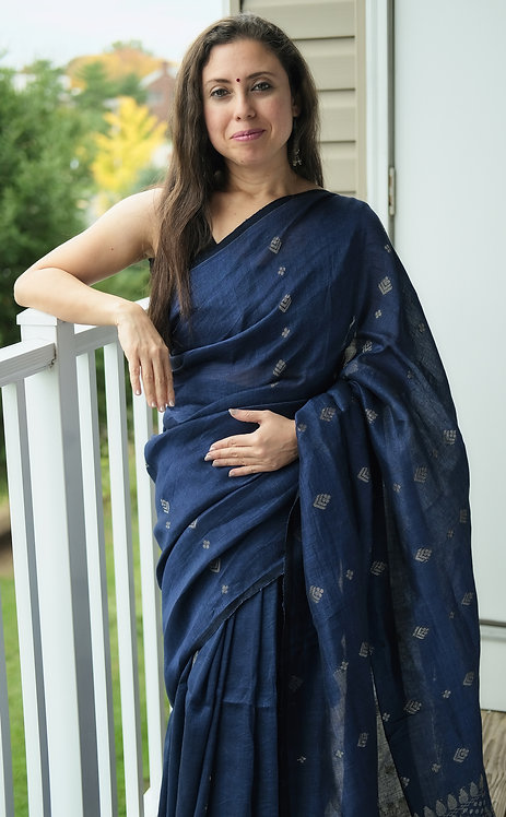 Premium Quality Linen Saree in Midnight Blue and Silver