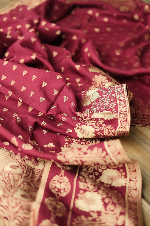 Banarasi Soft Silk Dupatta with Antique Zari in Maroon