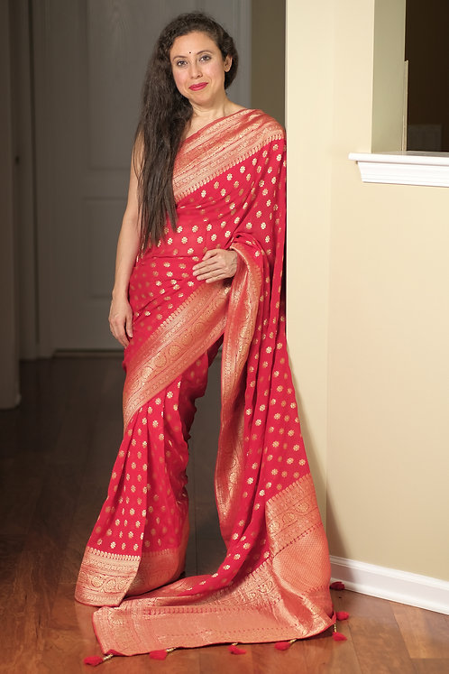 Pure Crepe Georgette Banarasi Saree in Red, Silver and Gold
