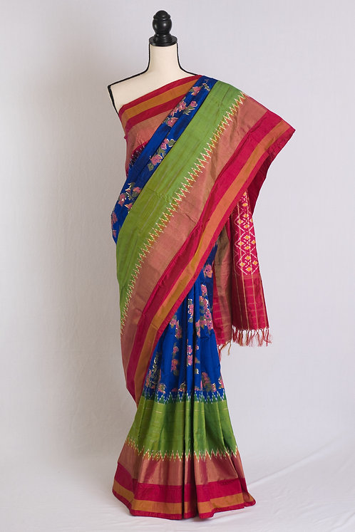 Exclusive Hand Painted Pochampally Double Ikat Saree in Royal Blue