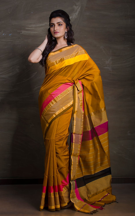 Maheshwari Cotton Silk Saree in Brown, Pink and Gold