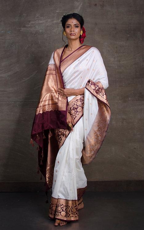 Banarasi Katan Silk Saree in White and Maroon