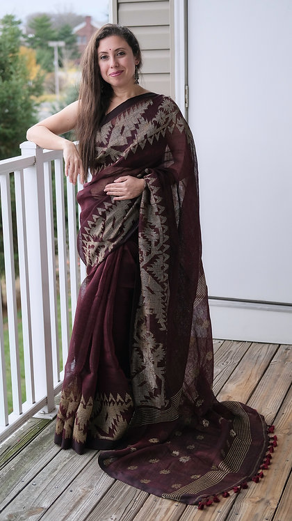 Pure Linen Jamdani Saree in Maroon and Antique Gold
