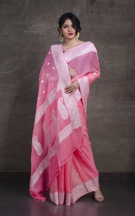 Pure Chiffon Banarasi Saree with in Flamingo Pink and Silver