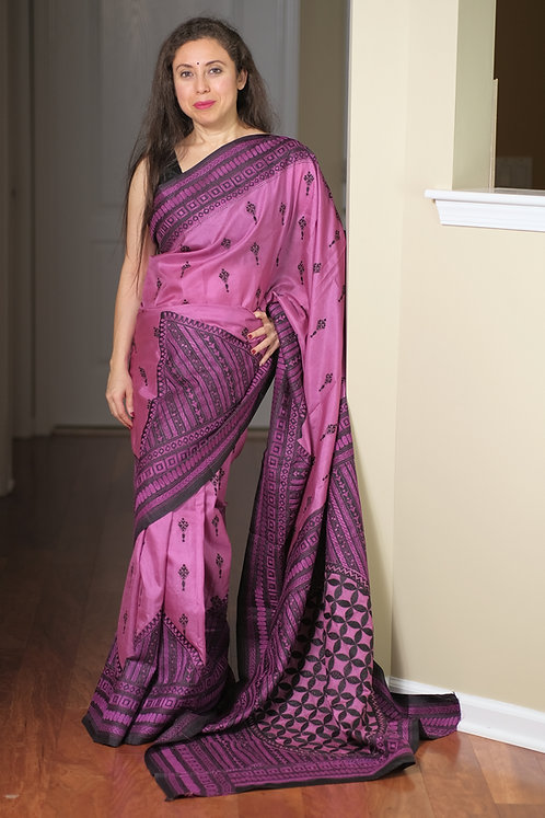 Hand Embroidered Kantha Stitched Pure Silk Saree in English Purple and Black