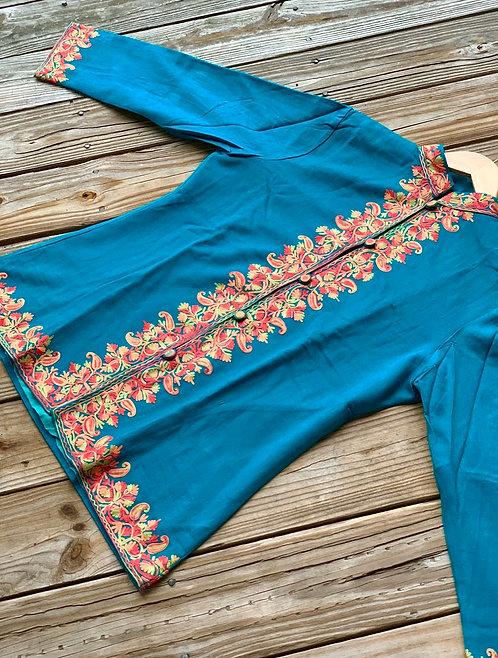 Rama Green Kashmiri Embroidered Coat in Size L