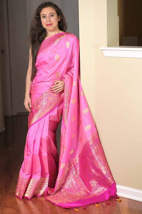 Pure Banarasi Katan Silk Saree in Baby Pink and Hot Pink