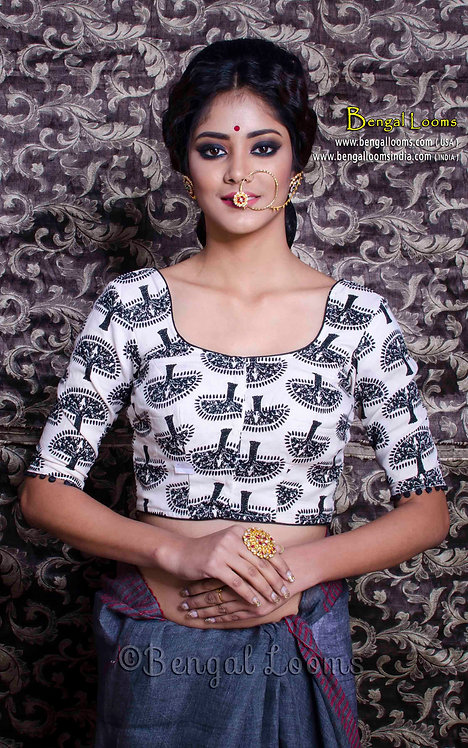 Printed Cotton Designer Saree Blouse in Size 32