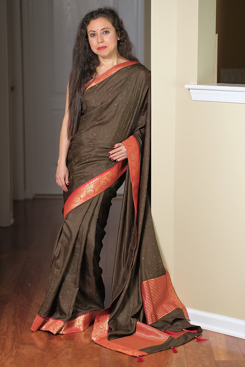 Semi Tussar Embroidery Saree with Stones in Dark Brown