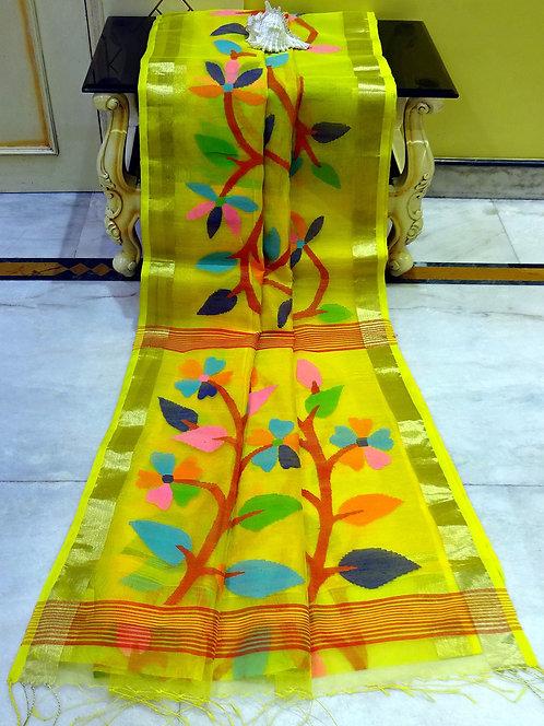 Muslin Jamdani Saree in Yellow