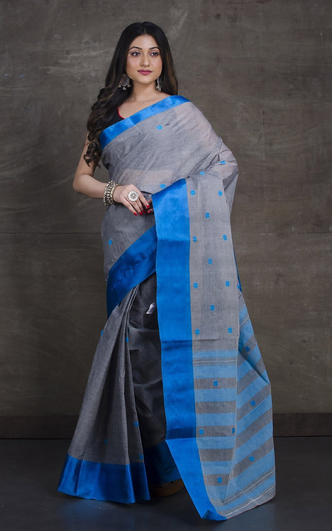 Bengal Handloom Cotton Saree with Starch in Gray and Blue