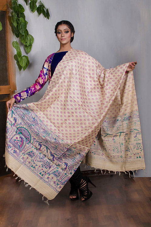 Pure Handloom Tussar Dupatta with Block Print