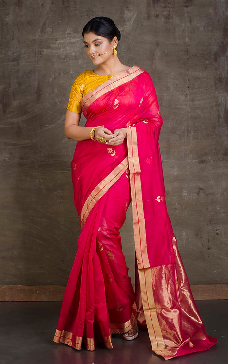 Pure Chanderi Silk Cotton Saree in Rose Pink and Gold