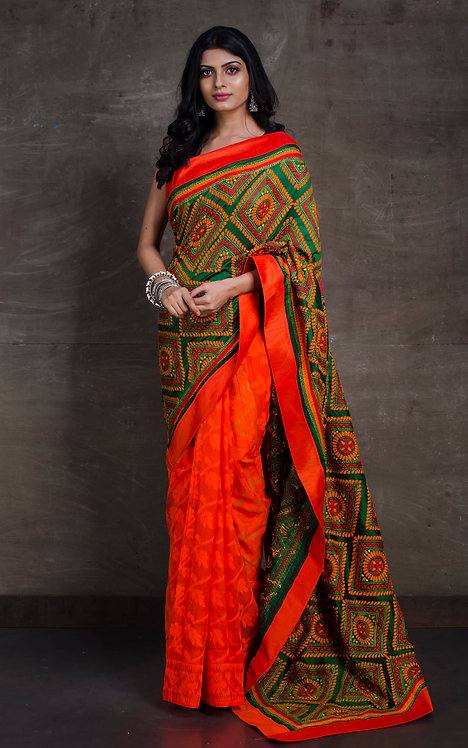 Hand Embroidered Half Kantha Silk and Half Jamdani Saree in Orange and Green