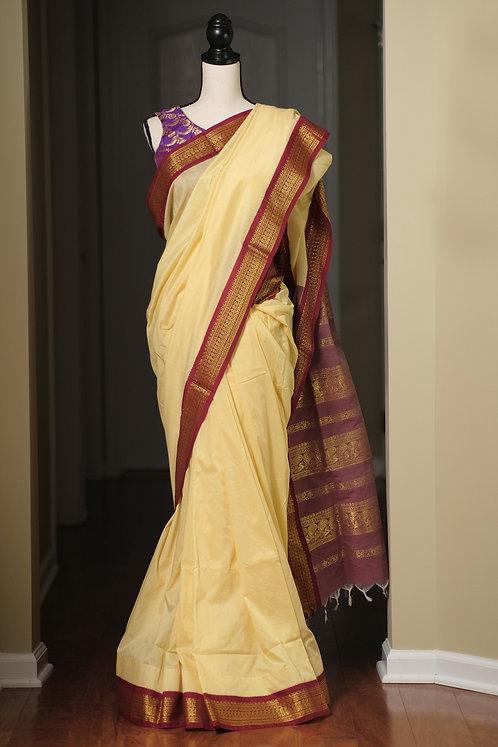 Semi Cotton Gadwal Saree in Light Yellow and Dark Red